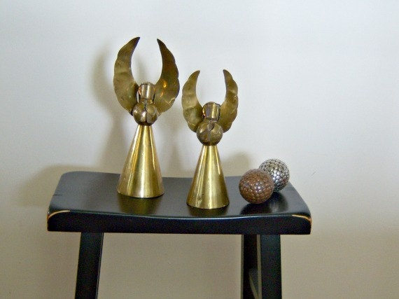 Vintage Mexico Brass Angel Pair