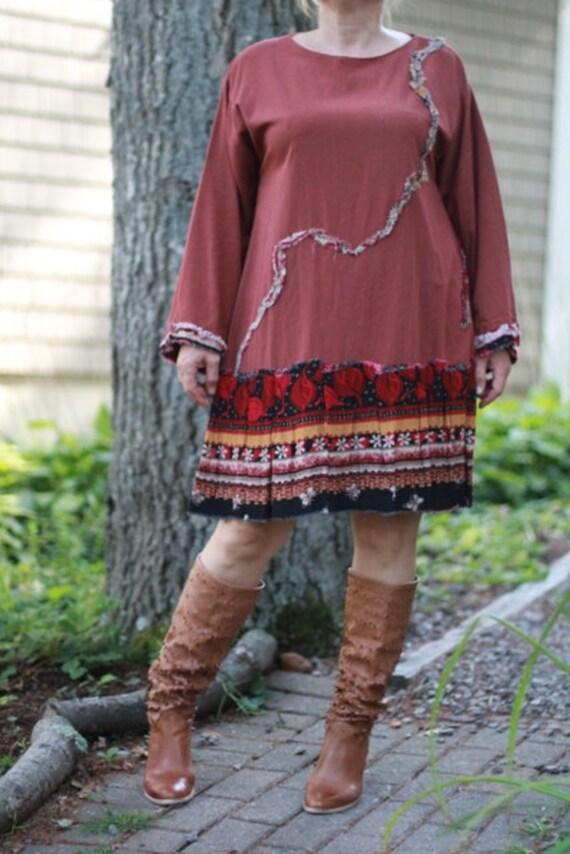 Eco-Friendly Dress / Upcycled / Astonishing Vibrations/ Large/ One of a kind by Europeaninboston