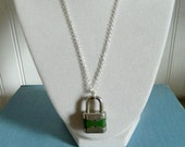 Unisex Lock Necklace Made in Germany Green Repurposed Reuse Jewelry Summer Fashion  One of A Kind