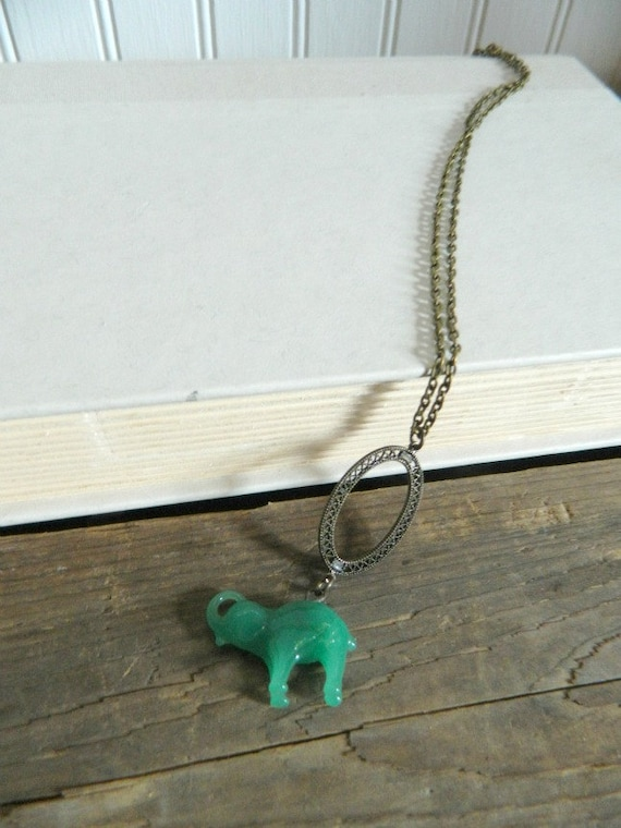 Elephant Necklace Green Repurposed