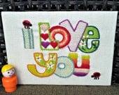 Vintage Love Sign - Embroidery Sampler - Ladybug Punctuation