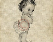 Adorable Vintage Baby Girl LARGE Digital Vintage Image Download Sheet Transfer To Totes Pillows Tea Towels T-Shirts