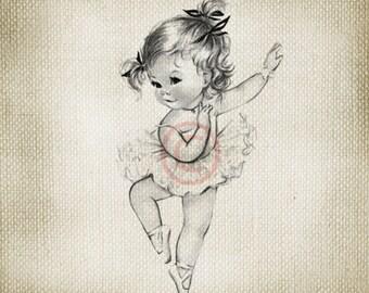 Adorable Vintage Baby Ballerina Girl LARGE Digital Vintage Image Download Sheet Transfer To Totes Pillows Tea Towels T-Shirts