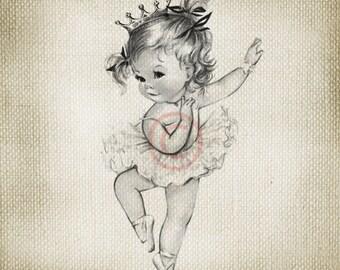 Vintage Baby Girl Princess Ballerina LARGE Digital Vintage Image Download Sheet Transfer To Totes Pillows Tea Towels T-Shirts