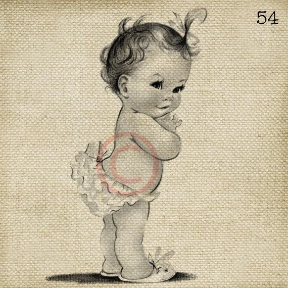 Adorable Vintage Baby Girl LARGE Digital Vintage Image Download Sheet Transfer To Totes Pillows Tea Towels T-Shirts
