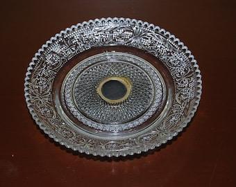 Sandwich Glass Small Pedestal Plate