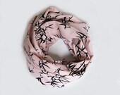 Bamboo  Infinity Cotton Scarf in Pastel Antique Pink.... Zen Motifs..Japanese Haiku..infinity circle scarf