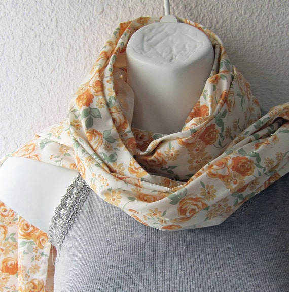 Reserved for 4Eva Cream Cotton Scarf with Small Tea roses ..Seven Berry Fabric of Japan..Pastel Scarf