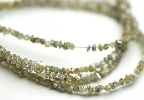 Tiny Natural Diamond Rough Cut Rondelles 2mm - 1/2 STRAND