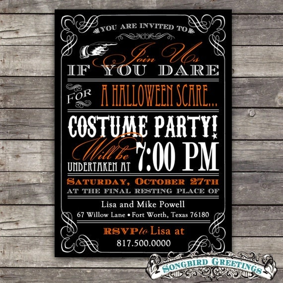 Halloween Event Ideas For Adults: Items Similar To DIY Vintage Halloween Party Invitation