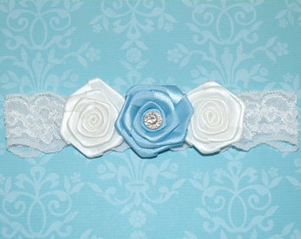SALE - White Lace Garter with Blue and White Satin Roses and a Rhinestone Center. Bridal Garter - Ready To Ship