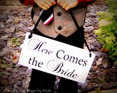 Here Comes the Bride- reversal and they lived happily ever after sign for Wedding. Flower Girl, Ring Bearer.