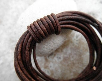 Leather Cord Round - 1mm -Natural Dye Red Brown - Sold by the Yard