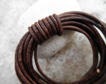 Leather Cord Round - 2mm -Natural Dye Red Brown - Sold by the Yard