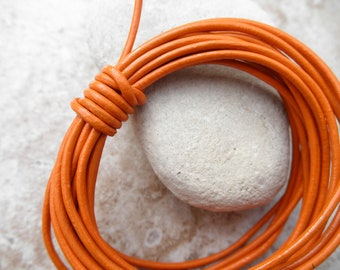 Orange - 2mm Leather Cord - By the Yard