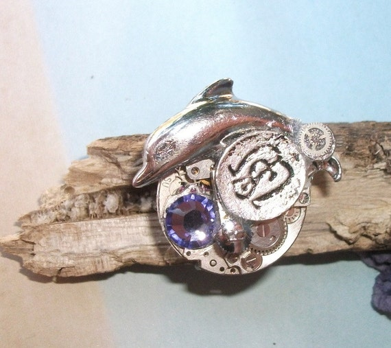 Ring Steampunk Ring Blue See Blue Ocean Dolphin Dream Blue Lady Summer Beach Blue Ocean Aqua Ring Vintage Watch Movement Nautical Ring