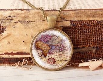 Old World Map - Vintage Necklace