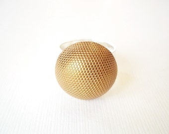 Cocktail Ring. Gold Recycled Vintage Button on Wide Hammered Silver Band. Statement Jewelry