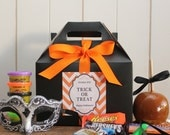 Set of 8 - Halloween Party Favor Box // Halloween Treat Box // Trick or Treat Bag // Halloween Candy Bag // Kids Party Favor