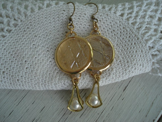 Vintage Clear and Frosted Glass Cabochon Gold Dangle Earrings Harlequin Argyle