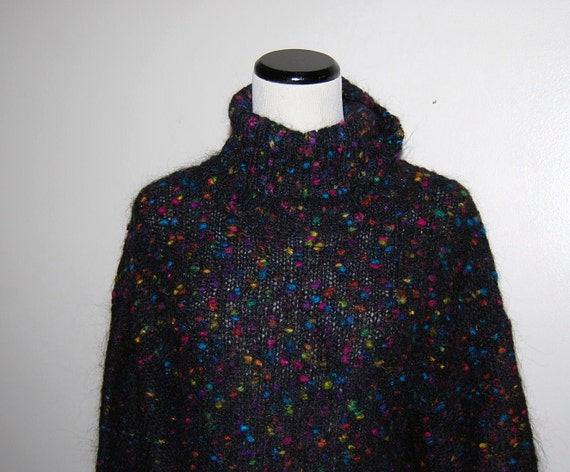 Vintage Sweater Retro Dots on Black Warm and Fuzzy