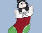 Black & White Tuxedo KITTY CAT in Stocking HANDMADE Polymer Clay Personalized Christmas Ornament