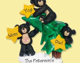 Black Bear Family of 3 on Christmas Tree HANDMADE POLYMER CLAY Personalized Christmas Ornament