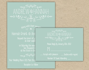 Modern Country chic Wedding Invitation and RSVP -Printable DIY. printed Wedding Invitation Template(1054-2)
