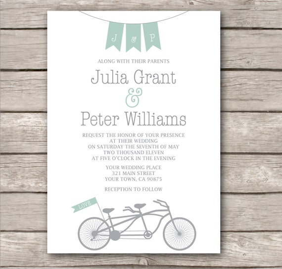 Items Similar To Tandem Bicycle Wedding Invitation And