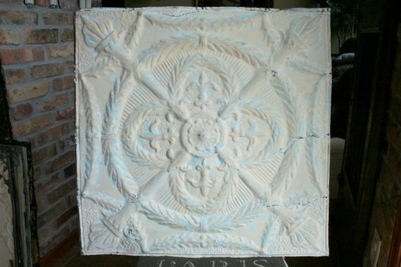 """Genuine Antique Ceiling Tile -- 24"""" x 24"""" -- Gray and Sea Foam Green Colored Paint"""