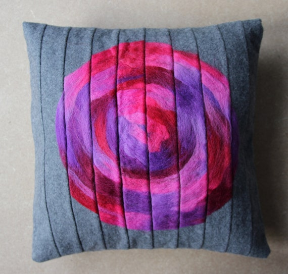 cushion cover pillow 16 x 16 decorative trow pillow in grey with pink & purple needlefelted wool rose appliqued 40 x 40 cm