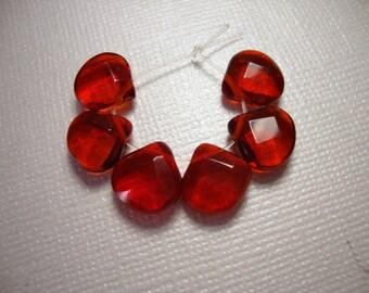 Ruby Red Crystal Glass Heart Briolettes -6 Brios
