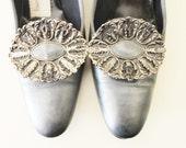 Vintage 60's Grey Gun Metal Buckle Shoes 7.5-8