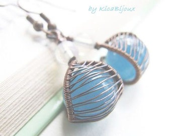 wire wrapped earrings tutorial  - jewelry tutorial - wire wrapped  copper dangle net earrings tutorial