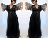 black lace nightgown and robe set