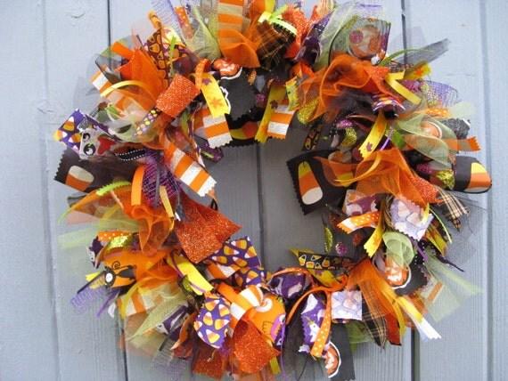 Halloween Wreath, Fall Wreath, Fabric Wreath and Ribbon Wreath for Halloween