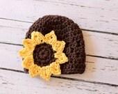 Crocheted Cotton Sunflower Hat - Newborn 0-3 Months - Brown With Yellow Sunflower