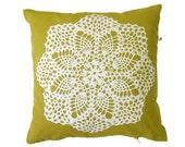 Handmade cushion · Hand screenprinted Cushion · Throw pillow · Decorative pillow · Insert included · Granny Pillow · Doily ·