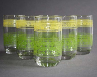 Vintage Yellow and Lime Green Swanky Swig Juice Glasses (6)