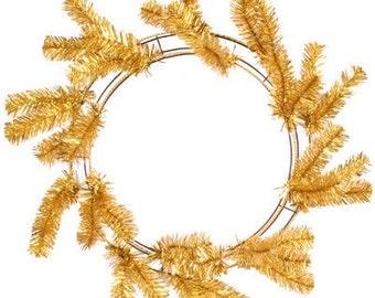 "24"" Deco Mesh Work Wreath -- Metallic Gold"