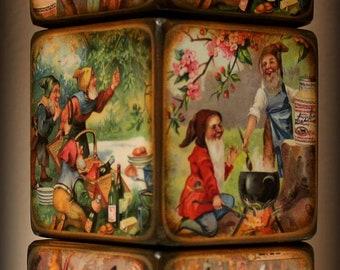 Vintage Looking Gnomes/Clowns Blocks