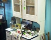 Vintage Retro Hutch with White Enamel Top and Etched Glass