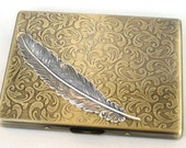 Steampunk - Metal ANGEL FEATHER Cigarette Case - Slim Wallet - Large Card Case - Antique Brass and Silver By GlazedBlackCherry S2