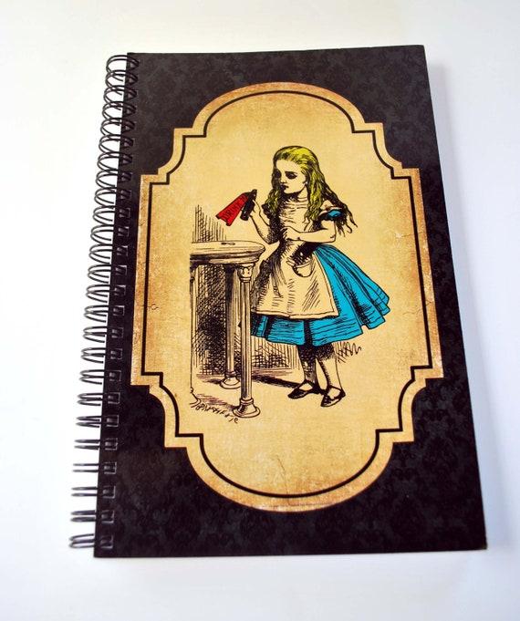 Alice, Drink Me, Alice in Wonderland, Spiral Bound NoteBook, Note Paper, Journal