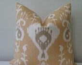 "SALE -Ikat Print in Mustard Yellow, Off White and Dark Khaki -  20"" x 20"" Decorative Designer Pillow Cover"