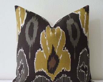 """Raja Ikat Pillow Cover in Chartreuse - 18"""" x 18"""" - Decorative Designer Pillow Cover"""
