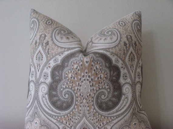 Kravet Latika Ikat/Paisley Print in Limestone - 20 x 20 Designer Pillow Covers - Grey, Beige and White