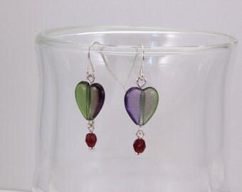 Green and Purple Heart Earrings