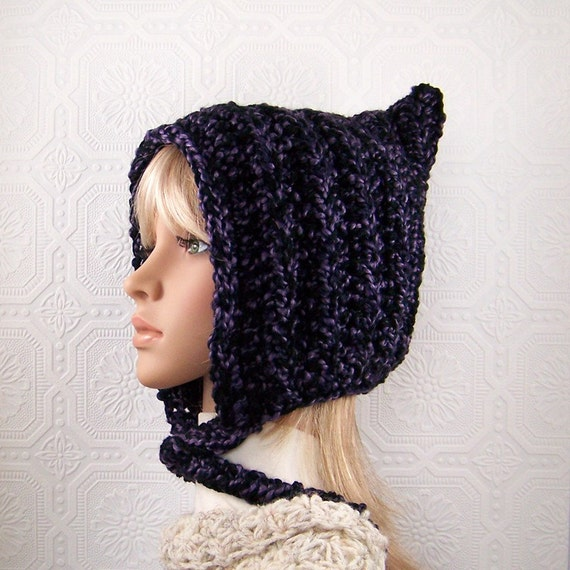 Pixie hat - hand crocheted hat - women's chunky hat - Winter Fashion Winter Accessories by Sandy Coastal Designs - ready to ship