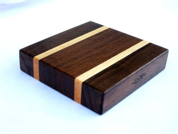 "Wooden small cutting board. Walnut, maple. 4.75"" x 4.75"" x 1.1"""